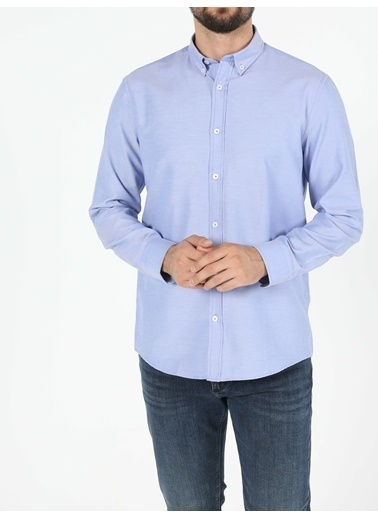 Colin's Regular Fit Shirt Neck Erkek Mavi Uzun Kol Gömlek Mavi
